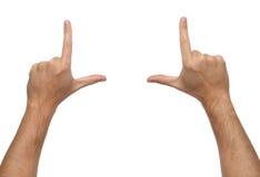 Mãos masculinas que quadro a composição Isolado Imagens de Stock Royalty Free