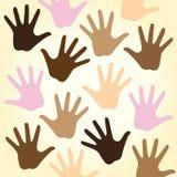 Mãos Multiracial Imagens de Stock