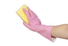 Mãos na lavagem cor-de-rosa das luvas Foto de Stock