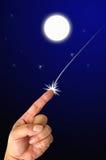 Mãos na lua do céu Imagem de Stock Royalty Free