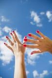 Mãos no ar Fotografia de Stock