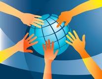 Mãos no mundo ilustração stock
