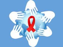 Mãos no símbolo do AIDS ilustração stock