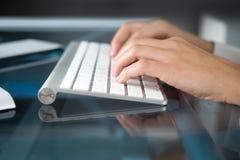 Mãos no teclado Fotografia de Stock