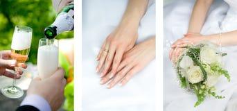 Mãos no vestido de casamento imagens de stock