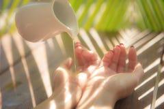 Mãos nos termas com óleo Imagem de Stock