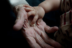 Mãos novas e velhas Fotografia de Stock
