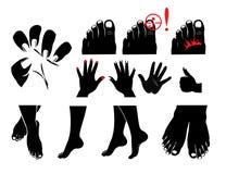 Mãos, pés, pregos, fungo do prego, itching e queimando-se ilustração do vetor