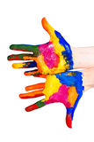 Mãos pintadas Fotografia de Stock Royalty Free