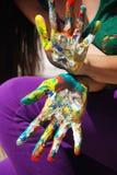 Mãos pintadas Imagem de Stock Royalty Free