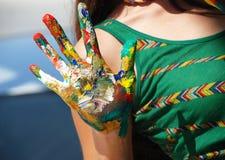 Mãos pintadas Fotos de Stock Royalty Free