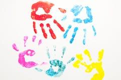 Mãos pintadas foto de stock royalty free