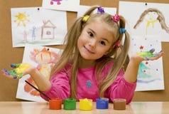 Mãos pintadas Imagens de Stock Royalty Free