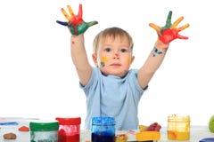 Mãos pintadas imagem de stock