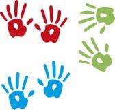 Mãos pintadas brancas de passeio fotos de stock royalty free