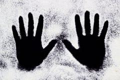Mãos pintadas brancas de passeio Fotografia de Stock