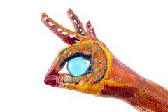 Mãos pintadas Meios criativos, engraçados e artísticos felizes! Isolado Imagens de Stock Royalty Free