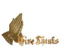 Mãos Praying da acção de graças Fotografia de Stock