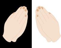 Mãos praying da mulher ilustração stock