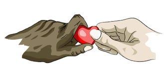 Mãos que guardaram o coração Fotografia de Stock Royalty Free