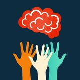 Mãos que alcançam para o cérebro Projeto do vetor ilustração stock