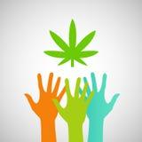 Mãos que alcançam para uma folha eps da marijuana Fotografia de Stock Royalty Free