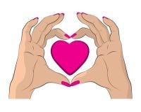 Mãos que fazem a coração a ilustração colorida cor-de-rosa ilustração royalty free