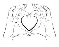 Mãos que fazem o a lápis desenho do coração ilustração do vetor