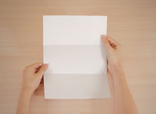 Mãos que guardam a brochura branca vazia do folheto na mão leaflet imagens de stock royalty free