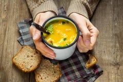 Mãos que guardam a caneca de sopa Imagem de Stock Royalty Free