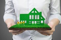 Mãos que guardam a casa verde na terra da grama com girassóis da lama fotografia de stock