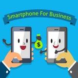 Mãos que guardam o caráter de Smartphone para o negócio Imagem de Stock