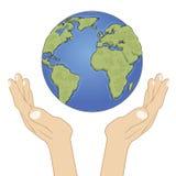 Mãos que guardam o globo da terra com cuidado Conceito da ecologia ilustração royalty free