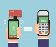 Mãos que guardam o smartphone com cartão de banco e terminal do pagamento Cartão de crédito móvel do pagamento Tecnologia moderna Fotografia de Stock