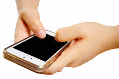 2 mãos que guardam o telefone esperto móvel com tela vazia O isolado Imagem de Stock