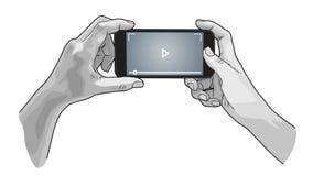 Mãos que guardam o telefone, estilo do esboço Imagens de Stock