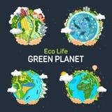 Mãos que guardam planetas com oceano e os painéis solares ilustração stock