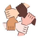Mãos que guardam-se para a solidariedade Fotografia de Stock