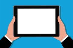 Mãos que guardam a tabuleta, ilustração do vetor Foto de Stock