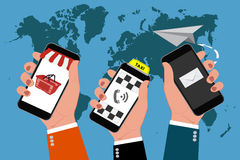 Mãos que guardam telefones celulares, negócio em linha, ilustração do vetor Fotos de Stock