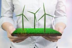 Mãos que guardam a telha do relvado com textura da grama das turbinas eólicas fotografia de stock royalty free