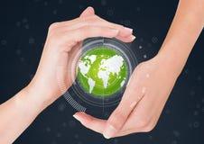Mãos que guardam um globo com conectores ilustração stock