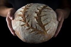 Mãos que guardam um naco de pão caseiro fotografia de stock