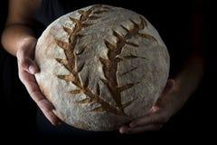 Mãos que guardam um naco de pão caseiro fotos de stock