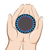Mãos que guardam um queimador de gás Ilustração Stock