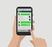Mãos que guardaram o telefone esperto Conceito social da rede Vetor Indicador do mensageiro C ilustração royalty free