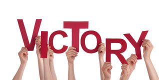Mãos que guardaram a vitória Fotografia de Stock Royalty Free