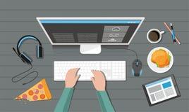 Mãos que jogam o jogo de vídeo no jogo de computador com engrenagem do jogo Imagem de Stock Royalty Free
