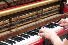 Mãos que jogam o piano ereto Fotos de Stock