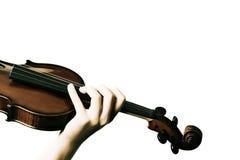 Mãos que jogam o violino no branco fotografia de stock royalty free
